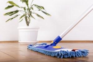 A mop on a hardwood floor