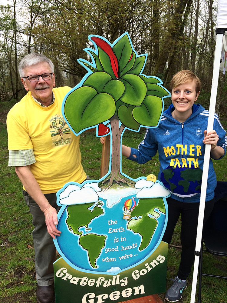 David Hiebert brought his colourful, earth-focused art to Earth Day at Everett Crowley Park.