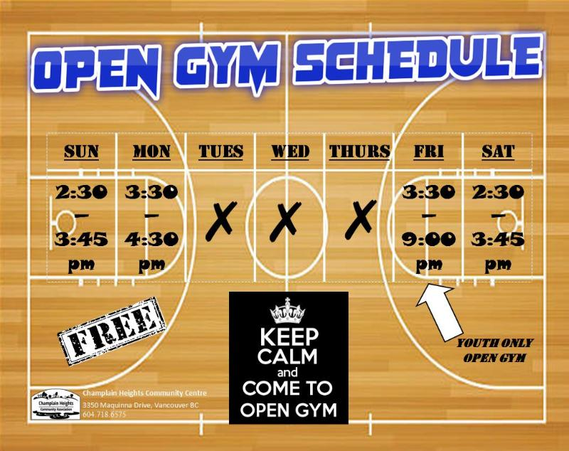 Fall Open Gym Schedule
