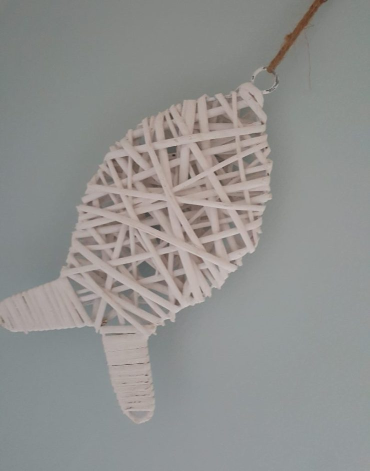 Willow fish wall decoration at Chandlers View holiday cottage, Whitby, England