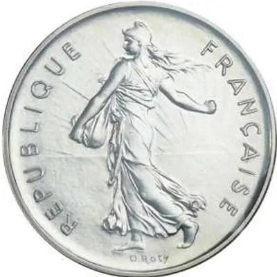 Côté face de la pièce en argent 5 Francs Semeuse