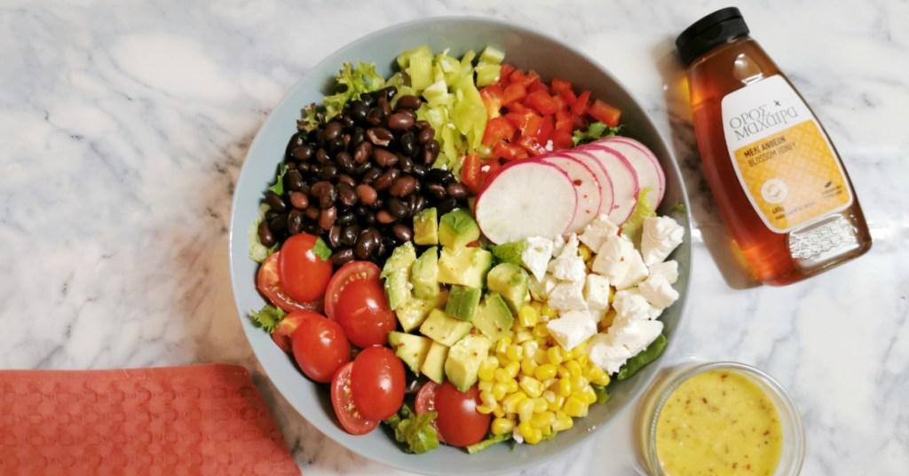 Μεξικάνικη σαλάτα με βινεγκρέτ και Μέλι Όρος Μαχαιρά