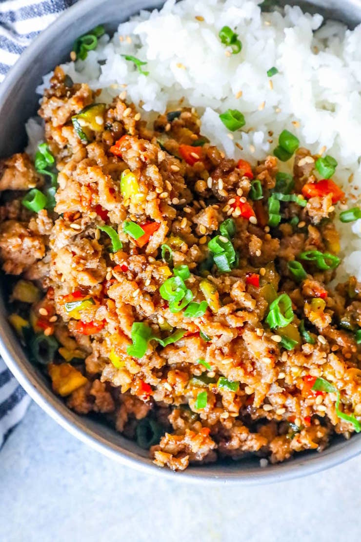 Easy Mongolian Turkey and Rice Bowls