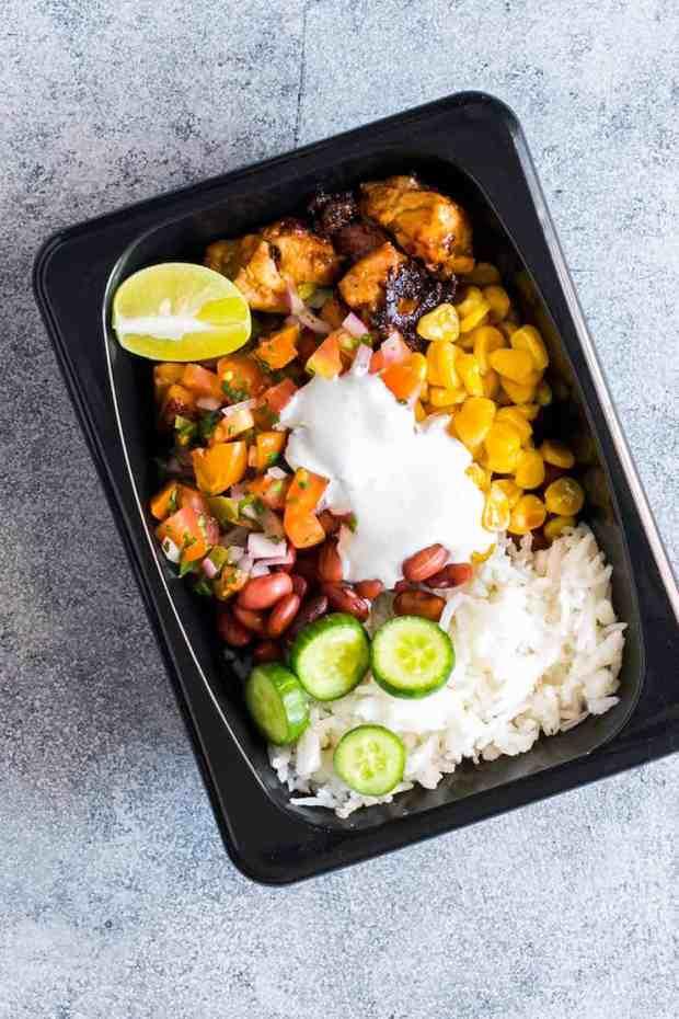 Easy Chicken Burrito Meal Prep Bowls (Gluten Free)