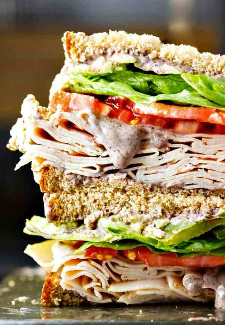 Healthy Turkey Sandwich With Black Bean Spread