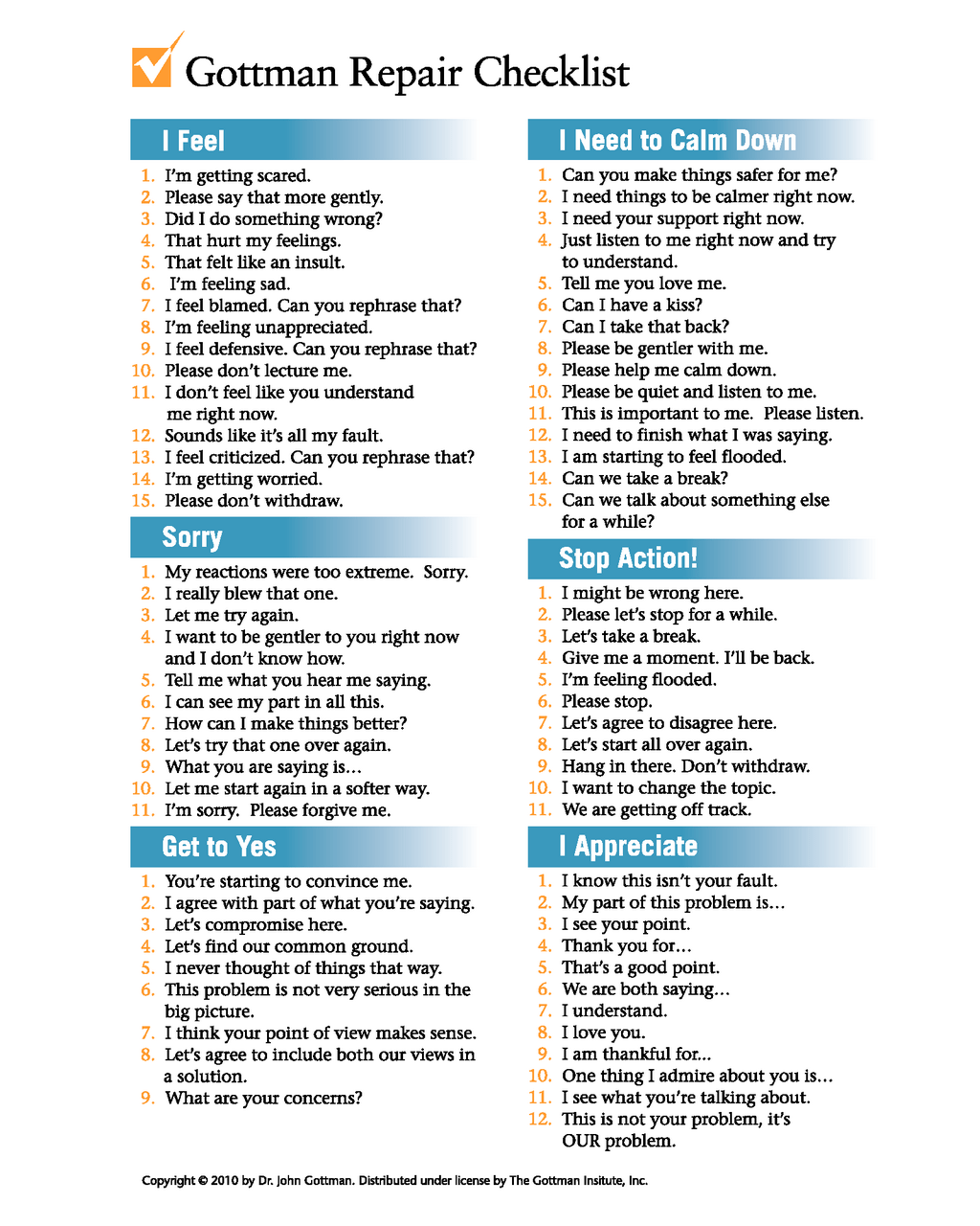 Psychologist John Gottman S Relationship Repair Checklist