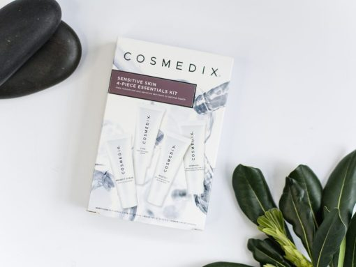 Cosmedix Skincare Sensitive Skin 4-Piece Essentials Kit with Benefit Clean cleanser, C.P.R. dry skin recovery serum, Rescue plus hydrating balm, and Hydrate plus SPF 17 moisturizing sunscreen