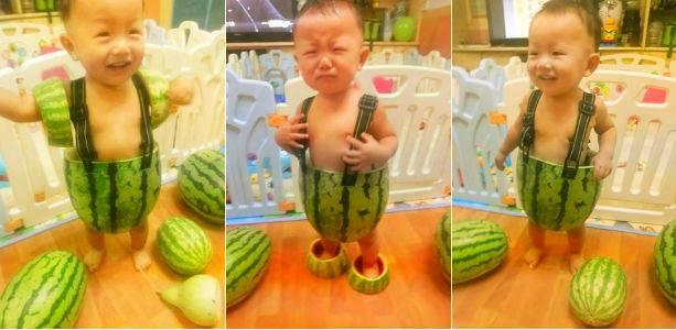 chinos trajes sandia niños