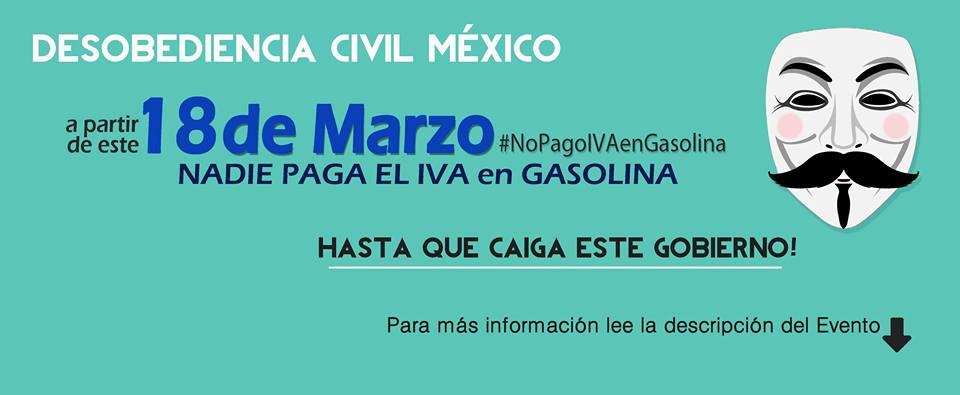 desobediencia civil méxico no pago iva en gasolina