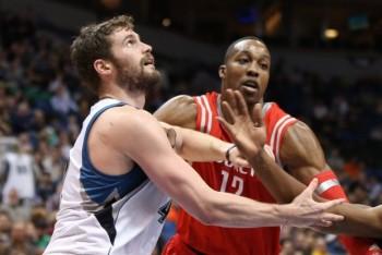 Kevin Love vs Dwight Howard Rockts Timberwolves NBA