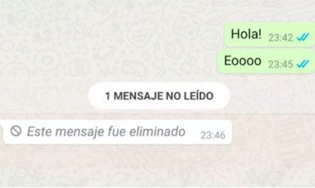 mensaje eliminado WhatsApp