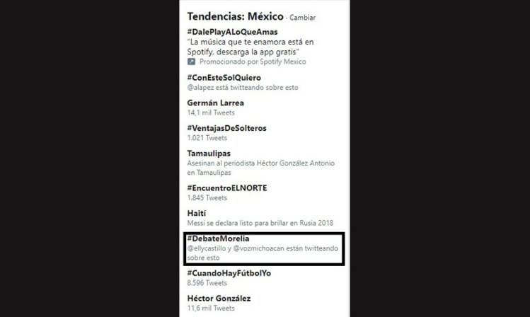 #DebateMorelia tendencia