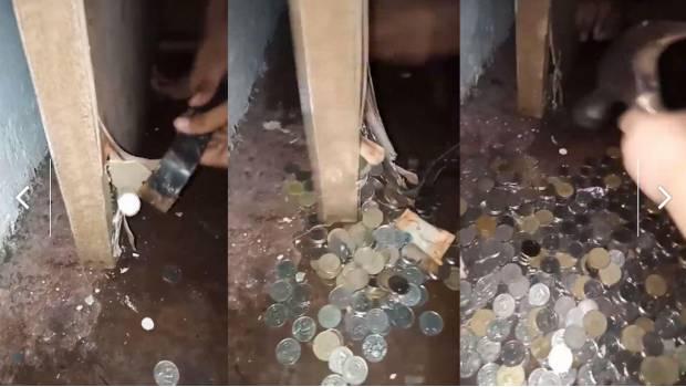 #Video Encontró Cientos De Monedas En Su Puerta Mientras La Arreglaba
