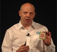 """Kirk Bresniker of HP Labs shows of a model of what """"The Machine"""" will look like"""