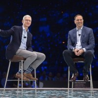 Apple CEO Tim Cook and Cisco CEO Chuck Robbins on stage at Cisco Live 2017 in Las Vegas