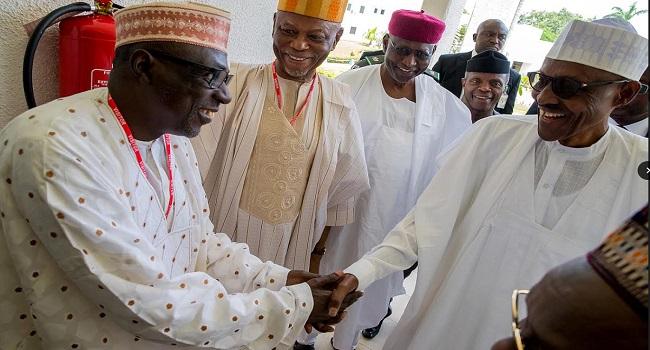 National Chairman Caretaker Committee PDP Ahmed Makarfi with President Muhammadu Buhari