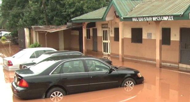 Flood Hits INEC HQ In Edo, Destroys Properties