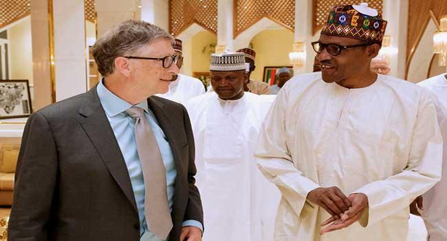Microsoft Founder Bill Gates and President Muhammadu Buhari inside the Presidential Villa