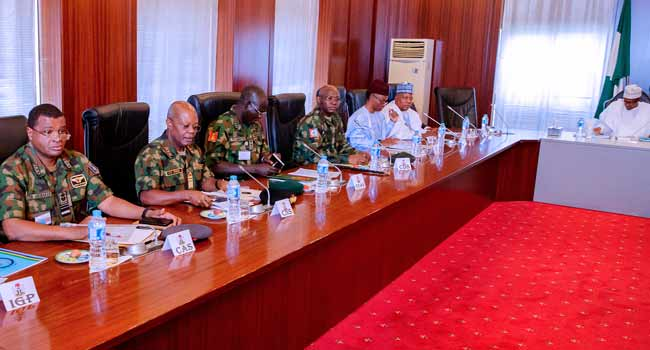 Image result for buhari security meeting yesterday pics