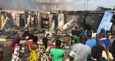 Goods Destroyed As Fire Guts Shops In Ogba