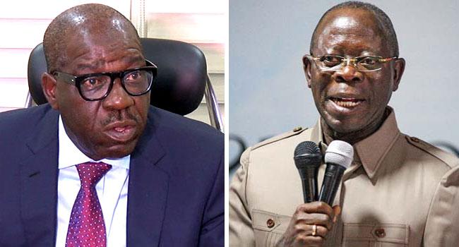A photo combination of Edo State Governor, Godwin Obaseki and APC National Chairman, Adams Oshiomhole