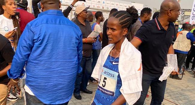 KenyanSharon Jemutai Cherop, was the first woman to finish the race.