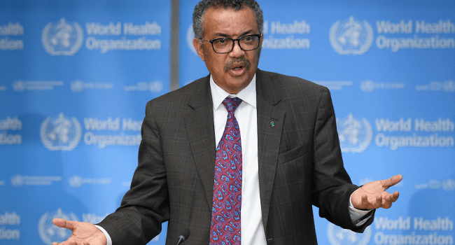 World Health Organization (WHO) Director-General Tedros Adhanom Ghebreyesus attends a daily press briefing on COVID-19, the novel coronavirus, at the WHO headquaters on February 28, 2020, in Geneva. Fabrice COFFRINI / AFP