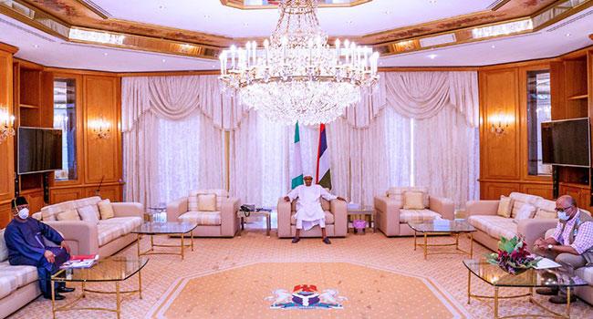 President Muhammadu Buhari met with the Minister of Health, Ehanire Osagie and NCDC boss, Chikwe Ihekweazu on Saturday, according to State House media.