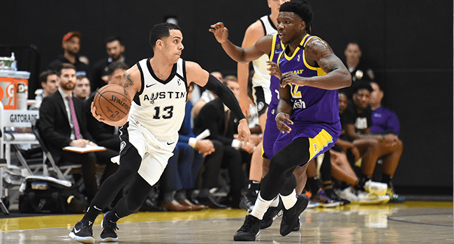 Angel Rodriguez #13 of the Austin Spurs handles the ball against Devontae Cacok #12 of the South Bay Lakers on March 11, 2020 at UCLA Heath Training Center in El Segundo, California.  Adam Pantozzi / NBAE / Getty Images / AFP