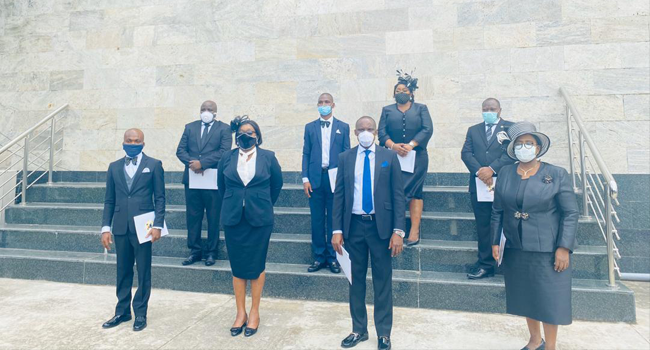 A cross section of the eight judges sworn in by Governor Babajide Sanwo-Olu on May 12, 2020.