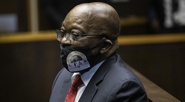"""Former South African President Jacob Zuma appears at the Pietermaritzburg High Court in Pietermaritzburg, South Africa, on June 23, 2020. - Former President Zuma stands accused of taking kickbacks before he became president from a 51 billion rand (3.4 billion US dollar) purchase of fighter jets, patrol boats and military equipment manufactured by five European firms, including French defence company Thales. (Photo by KIM LUDBROOK / POOL / AFP) / """"The erroneous mention[s] appearing in the metadata of this photo by KIM LUDBROOK has been modified in AFP systems in the following manner: [on June 23, 2020] instead of [on June 22, 2020]."""
