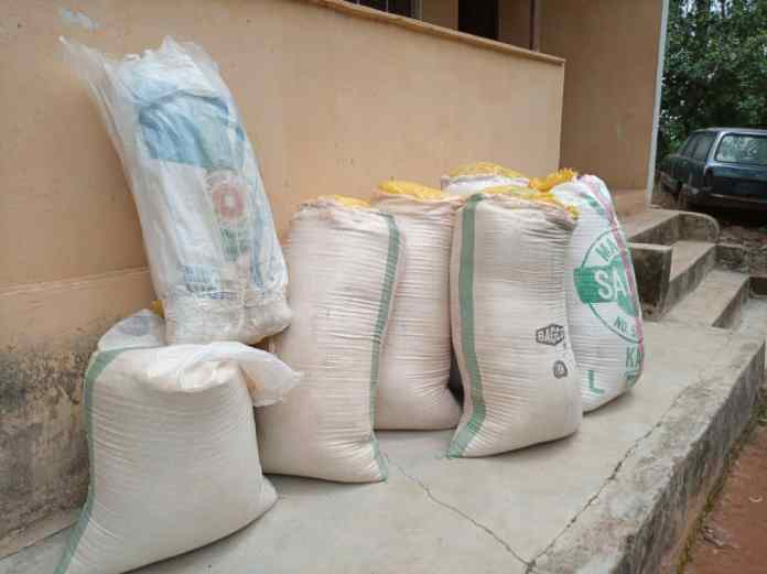 Image cannabis inside sacks of garri