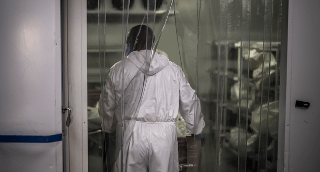 An undertaker from the AVBOB funeral house in Soweto, carries into a cold storage room the remains of a COVID-19 coronavirus patient on July 21, 2020. MARCO LONGARI / AFP