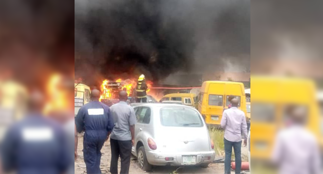 A total number of ten cars and one trailer were razed by the fire at the LASTMA office in Lagos on August 14, 2020.