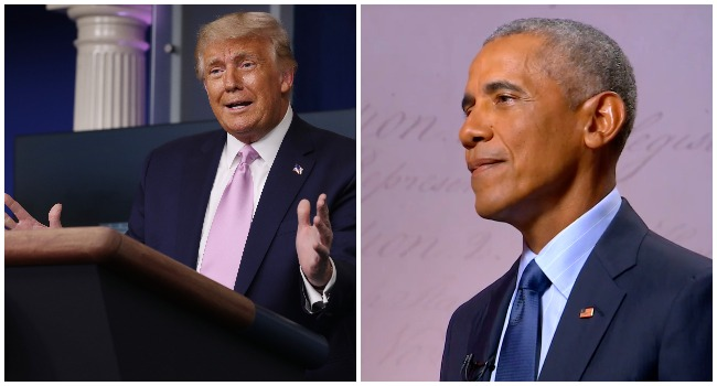 A photo combination of US President Donald Trump and former US President, Barack Obama.