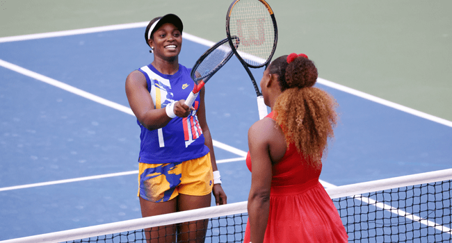 Sloane Stephens of the United States greets Serena Williams of the United States at the net after their Women's Singles third round match on Day Six of the 2020 US Open at USTA Billie Jean King National Tennis Center on September 05, 2020 in the Queens borough of New York City. Al Bello/Getty Images/AFP
