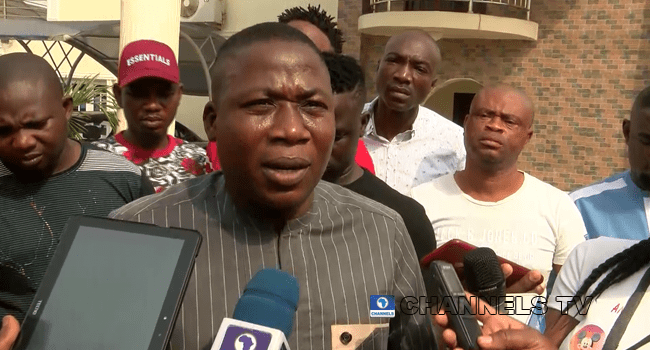 Mr Sunday Adeyemi Igboho addressed reporters on January 26, 2021.