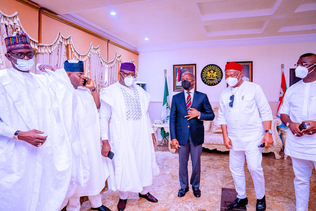 Vice President Yemi Osinbajo, Governor of Yobe State Mai Mala Buni, Governor of Ekiti State Dr. Kayode Fayemi, Governor of Imo State Sen. Hope Uzodinma and Governor of Kogi State Yahaya Bello at the 1st Year in Office Anniversary Interdenominational Church Service of Governor Hope Uzodinma in Imo State, Nigeria. 14th March, 2021. Photos; Tolani Alli