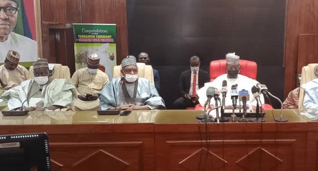 Chairman of the APC Governors' Forum and Governor of Kebbi State, Atiku Bagudu and and Jigawa State Governor, Badaru Abubakar paid a condolence visit to Governor of Zamfara State, Bello Matawalle in Gusau on April 24, 2021.