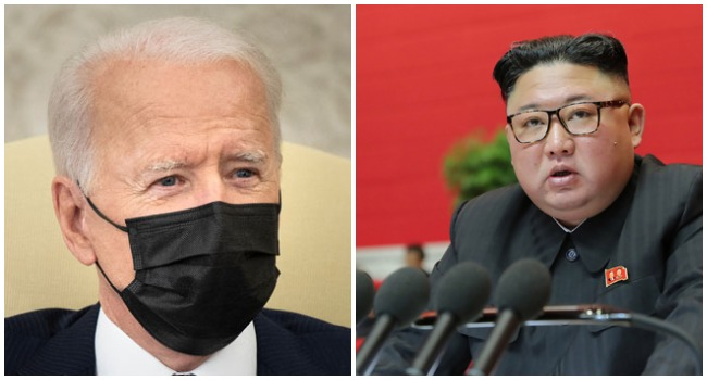 A photo combination of US President Joe Biden and North Korean leader Kim Jong Un.