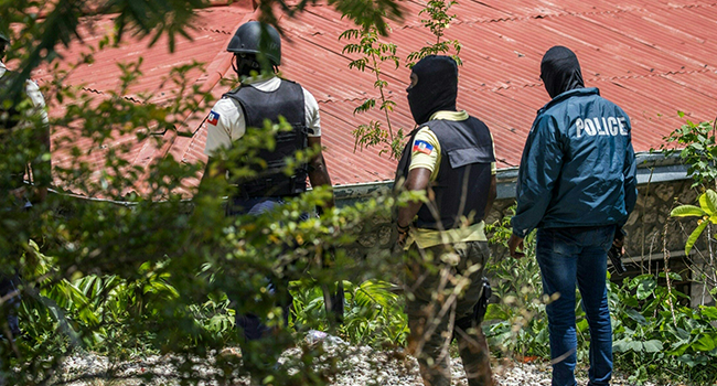Police are on the lookout for others suspected assassins of Haitian President Jovenel Moise outside the Embassy of Taiwan in Port-au-Prince, Haiti on July 9, 2021. Valerie Baeriswyl / AFP