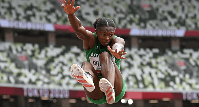 Nigeria's Ese Brume competes in the women's long jump final during the Tokyo 2020 Olympic Games at the Olympic Stadium in Tokyo on August 3, 2021. Andrej ISAKOVIC / AFP