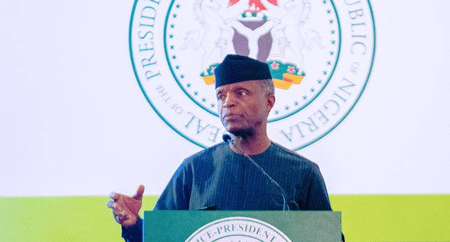 Vice President Yemi Osinbajo SAN delivers a speech during the Two-Day Mid-Term Ministerial Performance Review Retreat in the State House, Abuja on October 11, 2021. Photos: Tolani Alli