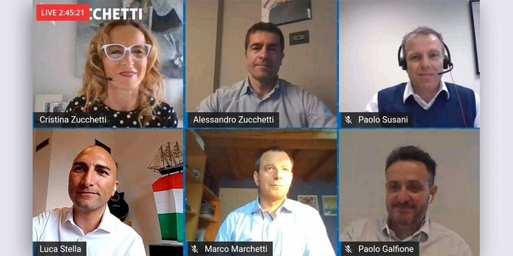 Il team Zucchetti durante l'incontro live con i partner per spiegare cloud soluzioni ad hoc anche in ambito sanitario e il lavoro del canale