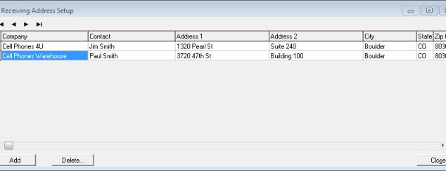 Receiving Address Setup Screen