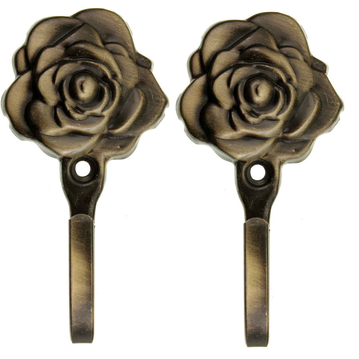 2x Metal Vintage Rose Flower Curtain Clothes Tie Back