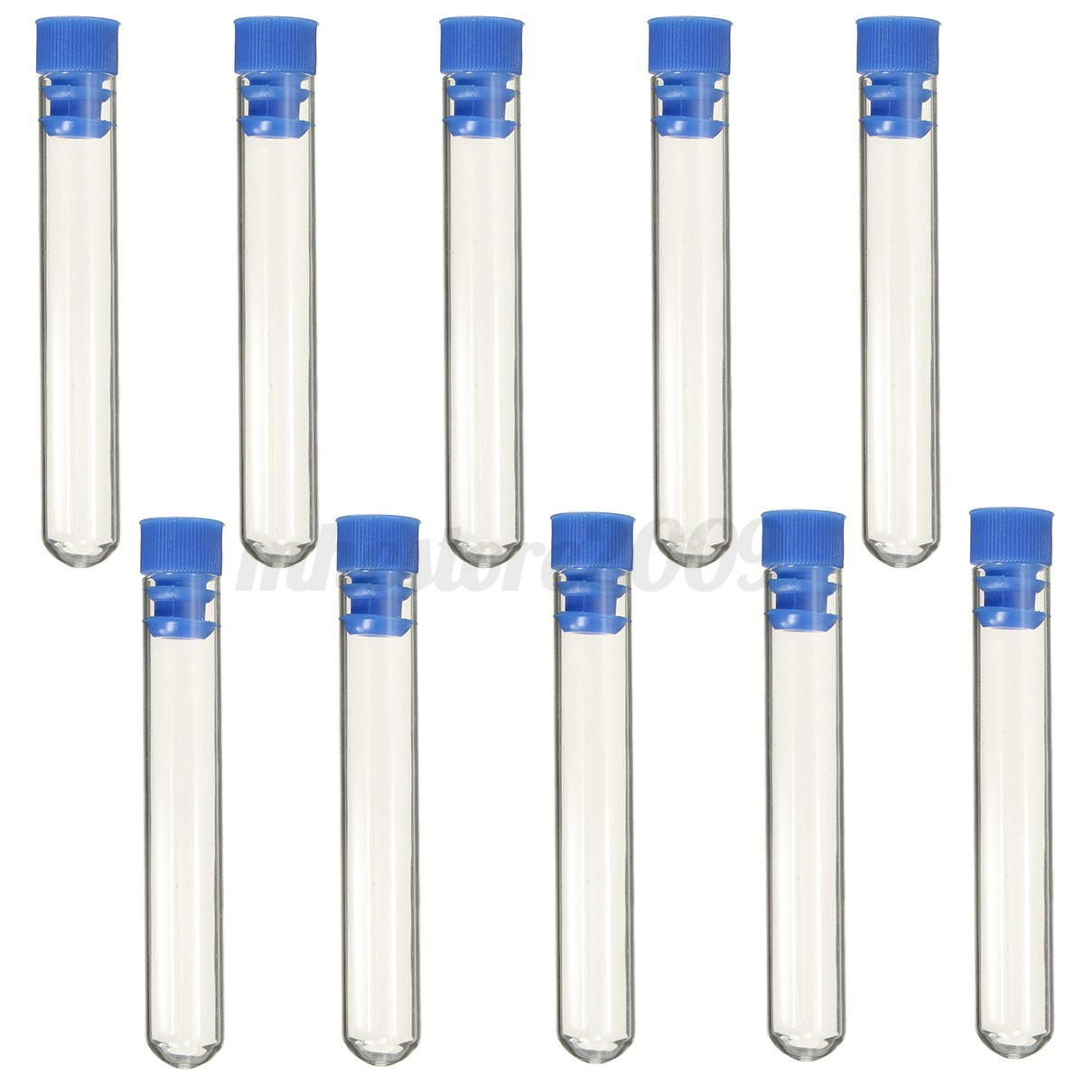 10pcs 12mm X 75mm Borosilicate Glass Test Tubes Rimless Pyrex With Push Caps Lab