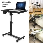 Rolling Laptop Desk Bed Height Angle Adjustable Portable Computer Table Stand Ebay