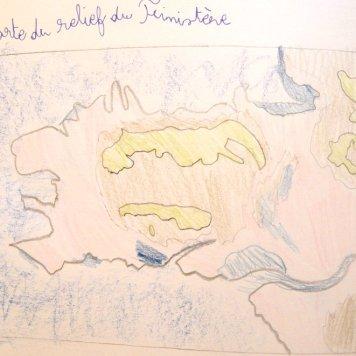 Carte du relief du Finistère