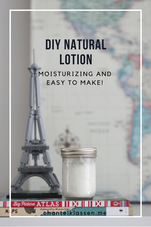 DIY Moisturizing Natural Lotion - easy to make with only a few ingredients: shea butter, coconut oil, grapeseed oil and essential oils!